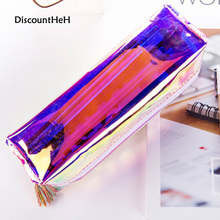 Creative Fashion Cool Laser Transparent Silica Gel PVC Plastic Water Proof Pencil Bag Tassels Pen Case(China)