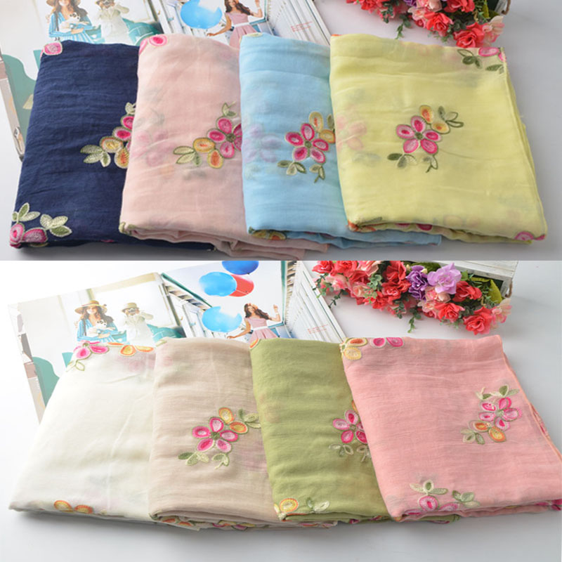 Za 2017 floral hijab,cotton plain shawl,Cotton embroidery scarf,Muslim hijab,shawls and scarves,wraps shawls,women cape,muffler