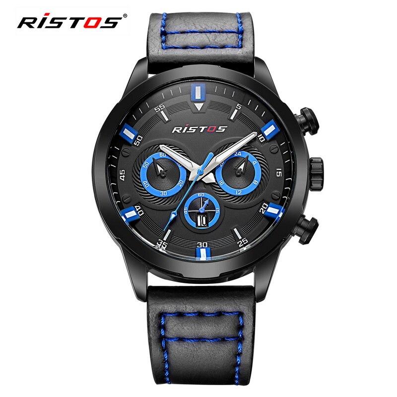 2017 New Brand RISTOS Casual Men Watch Quartz Hour Date Clock Sport Watches Leather Military Wrist Watch Relogio Masculino 93010<br><br>Aliexpress