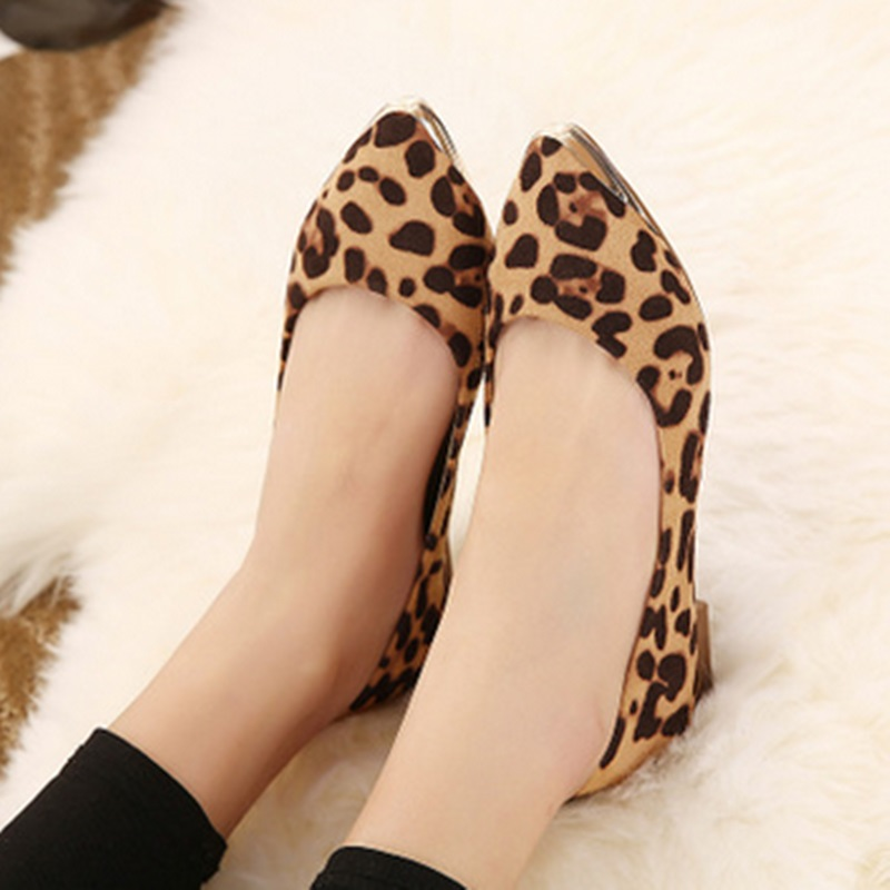 Ladys Leopard Printed Fashion Hot Sale Pointy Toe Glitter Sequined Plus size 34-42 Low Top Women Single Shoes Leisure Slip-On<br><br>Aliexpress