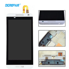 White LCD Touch Screen Display with Digitizer + Bezel Frame Assembly For HTC Desire 610 D610  , Free shipping !!!