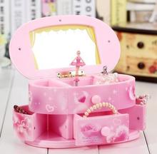 Hot selling Creative Girls birthday gift ideas mirror spinning dance music box girls jewelry box package mail qy573(China)