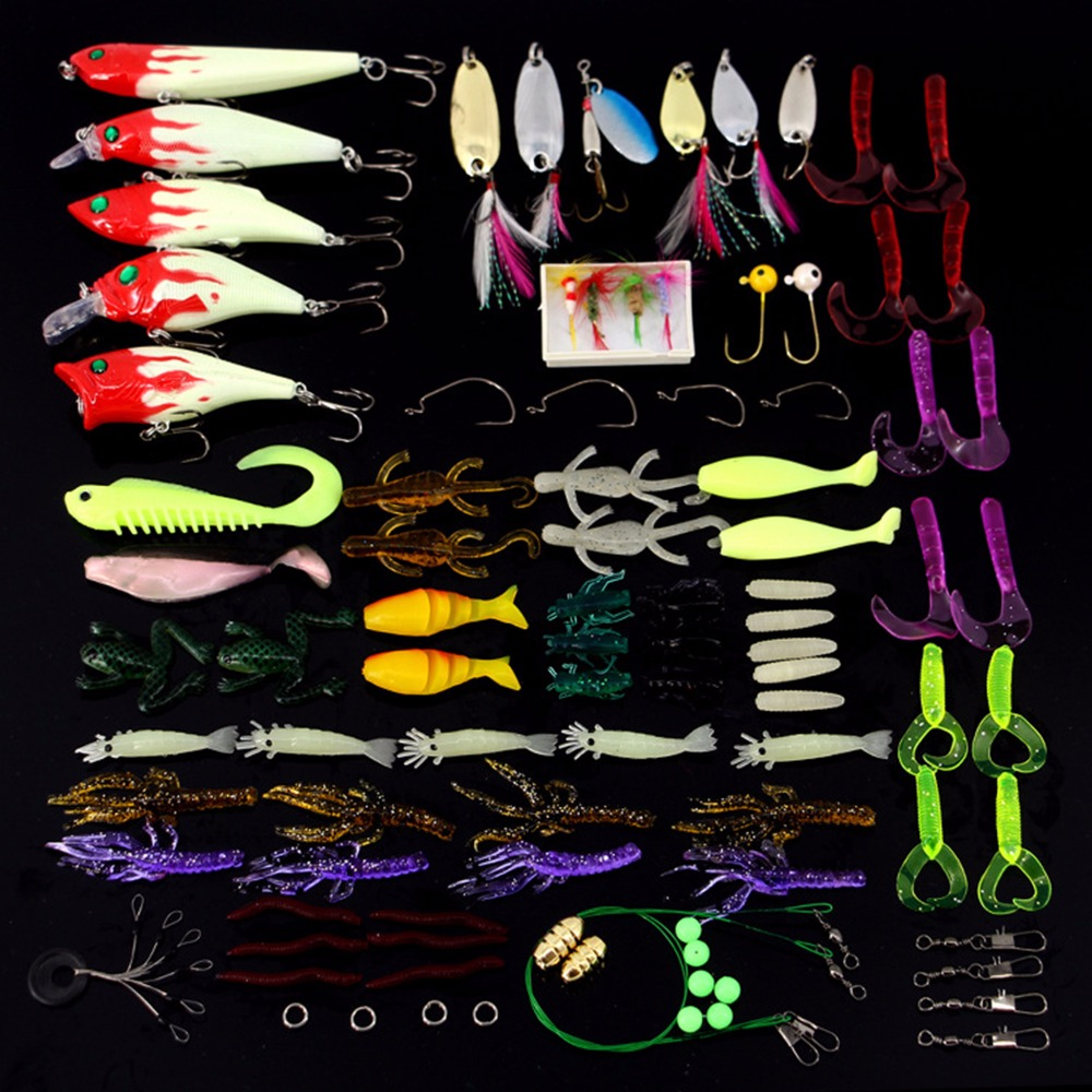 2017 Fishing Lure Kit 100 Pcs/Pack Minnow Popper Crank Spinner Metal Lure Spoon Swivel Soft Bait Set Combo Tackle Accessory Box<br><br>Aliexpress