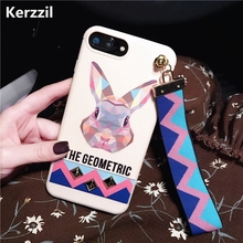 Kerzzil Animal Rabbit & Tiger Wrist Strap Tassel Phone Cases For iPhone 6 6s Soft Silicone Cover Back For iPhone 7 6 6s Plus