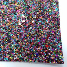 2 PCS A4 SIZE (21x29cm) Mixed Color Synthetic Leather Chunky Glitter Leather Glitter Fabric PU Leather for DIY Sewing 6S17(China)