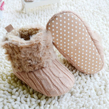 New Toddler Knited Faux Crib Snow Boots Kid Bowknot Woolen Yam Fur Knit Shoes
