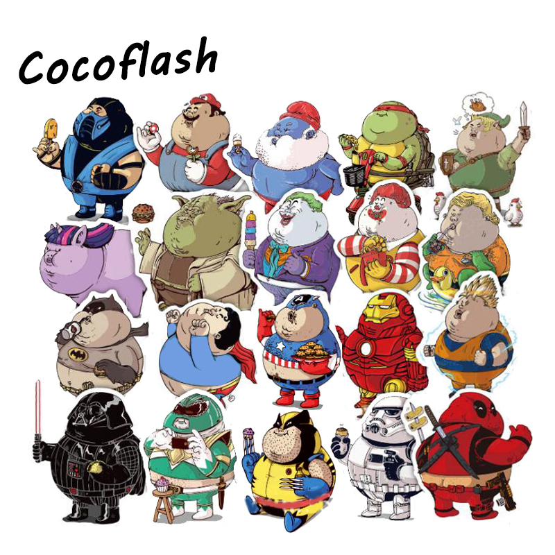 32Pcs Fat Super Hero MARVEL Sticker Cartoon Anime Toy Kids Stickers For PVC Laptop Luggage Skateboard Toys Stickers For Children