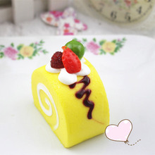 Japan Fruit Cream swiss Roll Cake buns Kawaii Squishy slow rising Bread Phone Strap charm Pendant Scented Squishes cute toys(China)