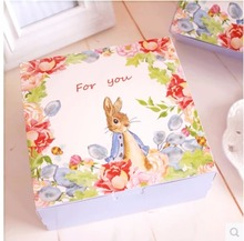 Natural Foral Bunny Cake Box,Party Gift Packing Box,Cookie/Candy/Nuts Box/DIY Packing Box/20pcs/lot,High Quality 165*165*65MM(China)
