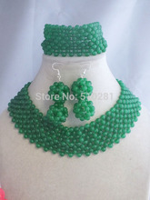 Amazing Beautiful Set Green Natural stone Beads Necklace Earring For Girls LK-3813(China)