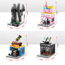 Hot city mini street view building block Book Fashion Pop Up Store BBQ cake shop bricks com.withlego.toys for kids gifts
