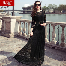 2017 spring and autumn women dress black lace slim long-sleeve plus size female summer dress long sexy beautiful