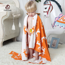Parkshin Orange And White Deer Blanket 100% Cotton Cute Knitted Plaid Bedspread For Sofa/Bed/Home/Gifts 2 Size Blanket