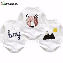 Printed Bear Baby Clothing 2017 3pcs / Set New Newborn Baby Boy Girl Romper Clothes Cotton Long Sleeve Infant Product(China)