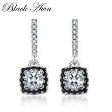 [BLACK AWN] 925 Sterling Silver Fine Jewelry Trendy Engagement Stud Earring for Women Female Wedding T051(China)