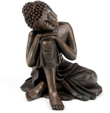 SUIRONG---426+++MAHOGANY WOOD EFFECT THAI BUDDHA ORNAMENT STATUE WITH HEAD ON KNEE(China)