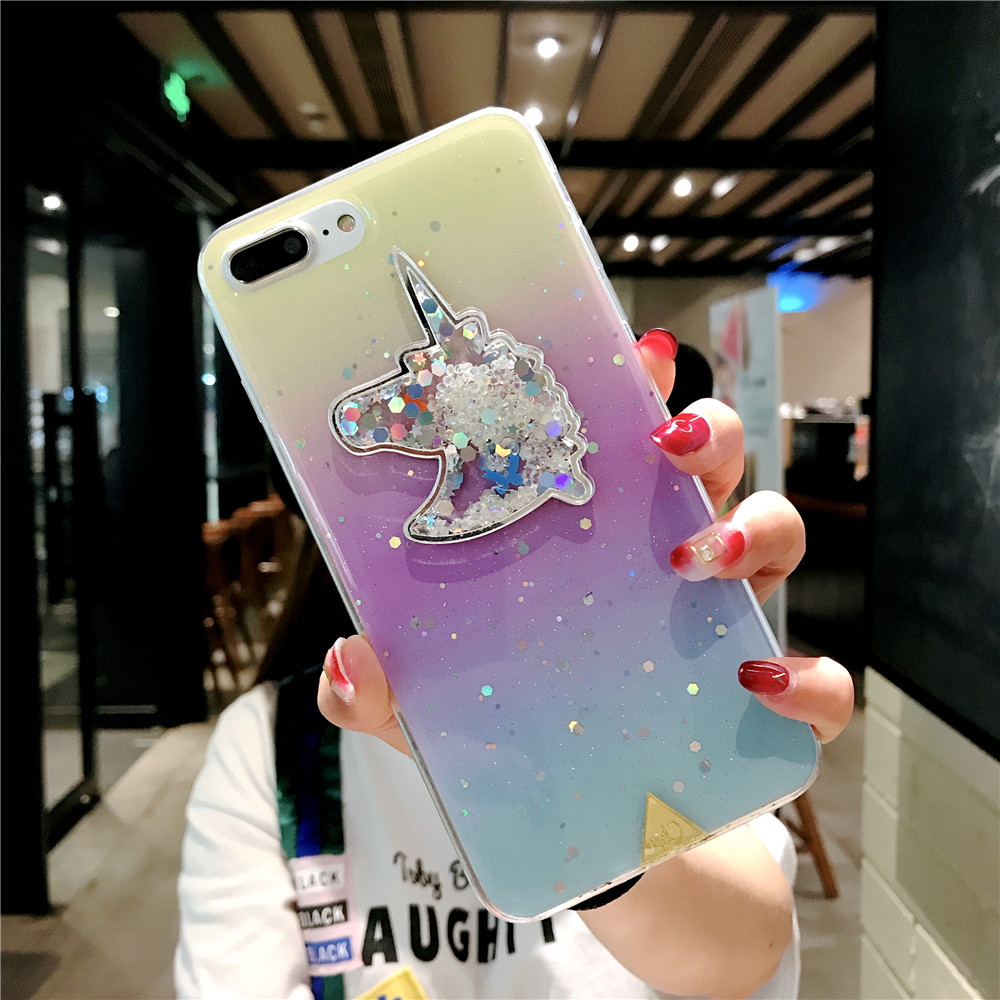 XINKSD For iphone 6 s 6s Gradient Luxury diamond unicorn phone case On iphone 7 8 x xr xs max Ultra-thin soft tpu liquid funda (3)