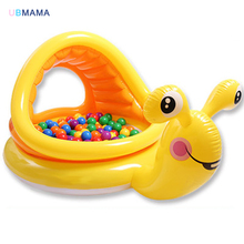 Cute yellow cartoon snail shape plastic PVC With awning windows Baby ocean ball pool Baby play sand pool child swimming pool