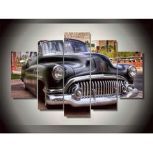 Famous Classic Old Style Car Canvas Oil Painting 5 Panel Arts Sets framed Home Wall Decor For Living Room