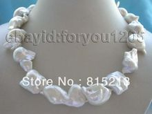 "ddh001480 18"" Natural White Reborn Keshi Pearl Necklace 14KGP 28% Discount"
