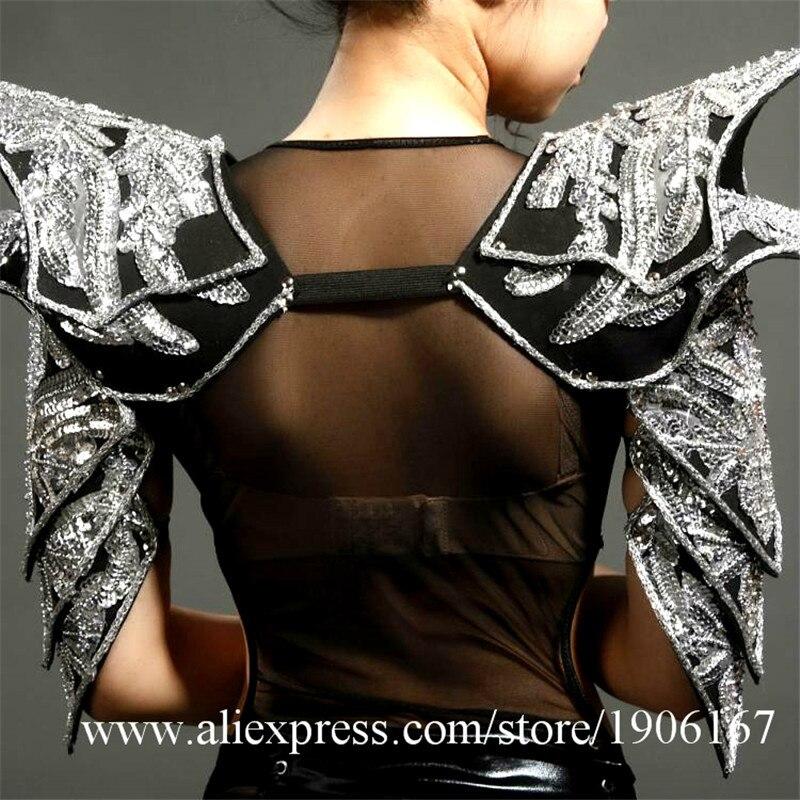 Night club nightclub female singer DJ Jazz Dance sexy shoulder armor stage costumes04