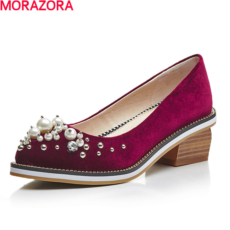 MORAZORA hot sale Four seasons new arrival rhinestone fashion beading shoes med heels women pumps party shoes shallow<br>