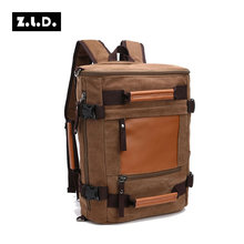 Z.L.D Originals Multifunction Canvas Travel Bag men's backpack Women travel bag for men Baggage Bags PU Leather Canvas Backpack(China)