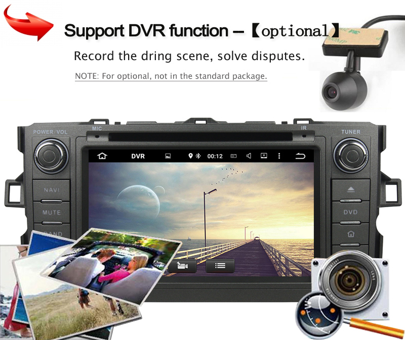 KANOR 2G+32G Octa Core Android 6.0 Car Multimedia Player For Toyota Auris With GPS Navigation DVD Bluetooth SWC Audio Radio WIFI