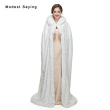 Ivory Floor Length Faux Fur Hooded Wedding Cloaks 2017 Bridal Capes Shawls Winter Stoles Stunning Jackets Wedding Accessories(China)