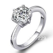 Hot sell ->@@ Wholesale price S ^^^^New product!1 white GOLD GP crystal Engagement ring -Top quality free shipping(China)