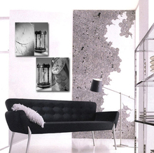 2 pcs Modern Wall Painting black white Sand hopper Vintage clock picture Home Decorative Art Picture Paint on Canvas Printings