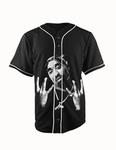 Real American Size tupac 2 pac 3D Sublimation Print Custom made Button up baseball jersey plus size