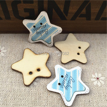 100pcs 30mm Star Shaped Blue Wood Buttons Boy Sewing Accessories 2 Holes Baby Fancy Button Boutons Wooden Crafts