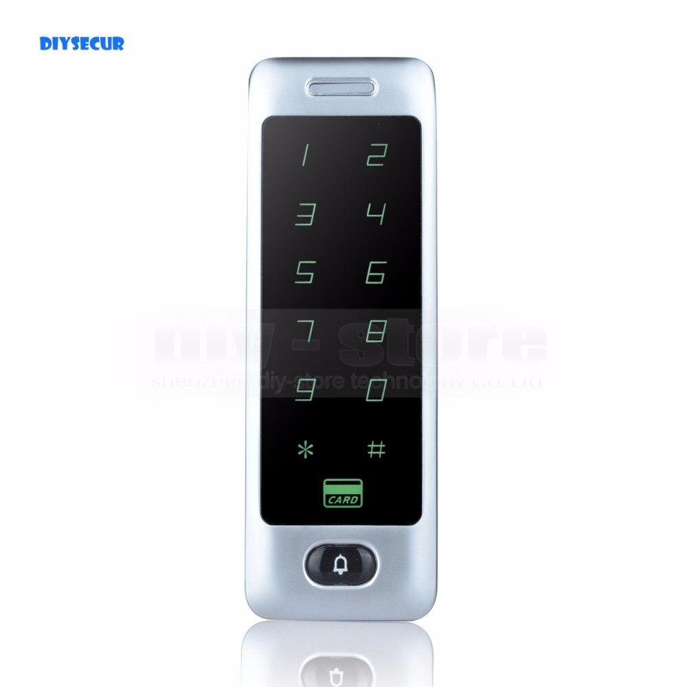 DIYSECUR Metal Case Touch Button 125KHz Rfid Card Reader Door Access Controller System Password Keypad C40<br>
