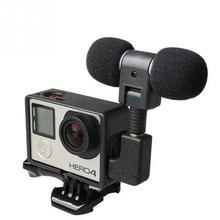 New Profesional Mini Stereo Microphone + Standard Frame Case for Gopro Hero 4 3+ 3 External Mic