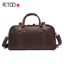 AETOO Retro mad horse leather travel bag men large capacity leather hand luggage bag foreign trade shoulder travel bag