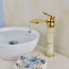 Free shipping Unique Art Design Copper With Marble Stone Jade Mixer Faucet Golden Basin Tap Hot Cold Faucet Tap Waterfall ZR467