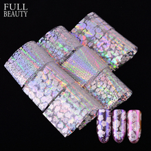 Full Beauty 8pcs/set Transparent Colorful Paper Nail Foils Rose Stripe Flower DIY Laser Glitter Nail Adhesive Sticker CH141(China)