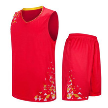 New Red Blank basketball jerseys 2017 cheap throwback basketball jersey uniforms for adults Suits LD-8090(China)