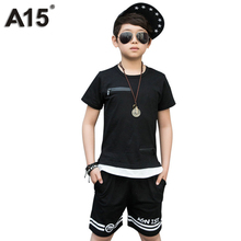 A15 Boys Set Summer 2017 Boys Clothes Set Boys Clothing Set Children Sport Set Tracksuit Kids Casual Clothes Teens 12 14 16 Year(China)