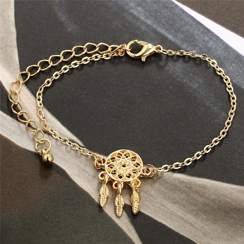 3 Pcs/set Bohemian Retro Bangle Gold Bow Heart crystal Dreamcatcher Pendant feathe Open Bracelet Women Party Wedding Accessories