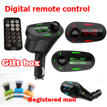 1 PCS Car MP3 player digital remote control wireless FM transmitter Mucsic Player The audio USB With Gift Box Free Shipping
