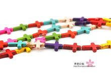 (25 pieces/lot) 12mm*15mm Synthetic Stone cross ,vintage cross beads for jewelry making multicolor