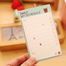 1PC Cute Cartoon Plan Schedule Check Sticker Sticky Notes Bookmark Pads Kawaii Korean Post It Memo Note Pad