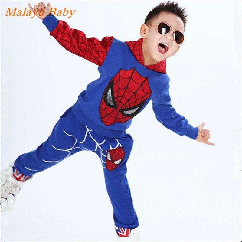 Malayu Baby Baby Boys Spring Autumn Spiderman Sports suit 2 pieces set Tracksuits Kids Clothing sets  Casual clothes Coat+Pant<br><br>Aliexpress