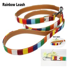 (1 piece / lot ) Pet Dog Leash Size S 1.5*120cm M 2.0*120 cm L 2.5*120cm Soft Canvas Cloth Pu Leather Material Rainbow Dog Lead