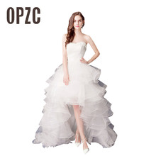 2017 Top Selling wedding dress Cheap Hight Low bride royal princess Lace Front Short Long Back train formal dress quality growns(China)