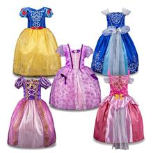 FREE SHIPPING Girl Cinderella Dresses Children Snow White Princess Dresses Rapunzel Aurora cute Party Halloween Costume Clothes(China)