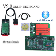 11.11 Discount!!! V9.0 Green board with red nec relays VD TCS CDP PRO PLUS with Bluetooth or usb led cables for cars and trucks(China)