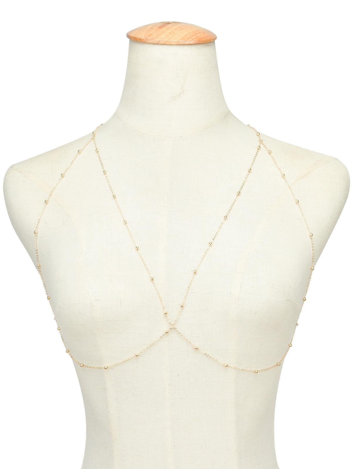 Fashion Body Chain women bohemia rhinestone Sexy gold Beach Bikini Harness for bra Bralette chain Straps accessories 3